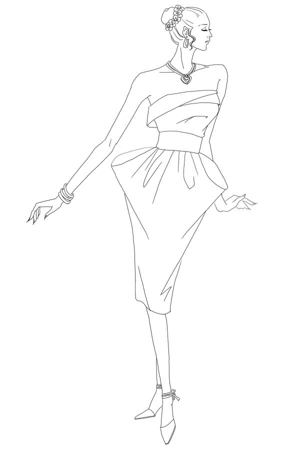 晚服装设计图铅笔手稿展示
